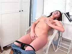Horny office girl Porsha spreads her legs wide to finger herself