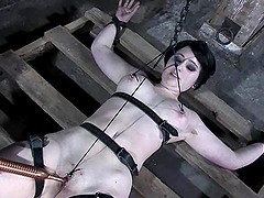 Nice brunette girl gets whipped and tortured in a barn