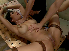 Adorable brunette chick gets toyed in her ass and fucked