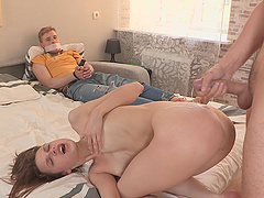 A pretty babe sucks and rides a dick for cash