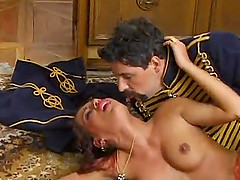Experienced officer provides the horny chick with his erected dick