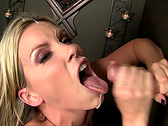 Beautiful MILF Gets Cum In Her Mouth Through A Gloryhole