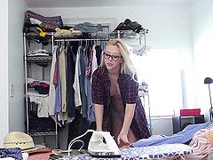 Blonde cowgirl in glasses moaning in excitement as she gets screwed