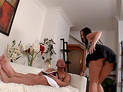 A babe with a big ass loves a dick slammed into her butt