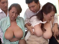 Kinky Asian cougar with massive tits enjoying a hardcore foursome