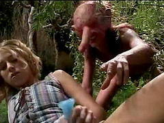 Blonde princess in the forest gets fucked by a big cock troll