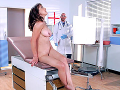 Naughty doctor fucks a brunette patient's trimmed pussy