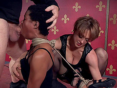Short hair bondage ebony face fucked lovely in BDSM seen