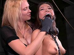 Sexy Asian looker gets pounded hard by a stunning blonde
