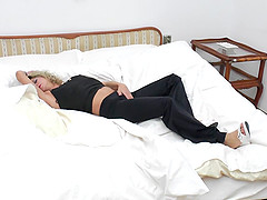 Sleepy angel mature dame wakes up then masturbates