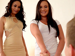 Kristall Rush and Wendy Moon have a blast with a big dick