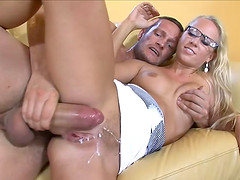 Adoring blonde Carla Cox is happy to be sprayed with semen
