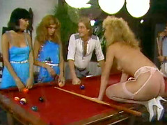 Dick craving ladies enjoy a kinky sex session on a pool table