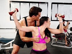 Steamy cock riding at a gym with Rachel Starr and Ramon Nomar
