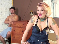 Candy Monroe chokes on a big black cock in front of her lover