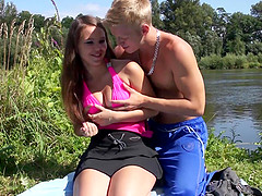 Awesome sex session by a lake with cute babe Sabrina