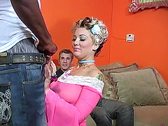 Naughty Candy Monroe fucks with a black guy in front of her boyfriend