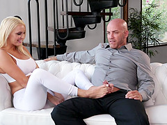 Banging blonde Kenzie Taylor on the couch makes him happy
