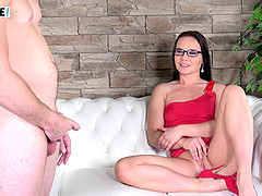 Wendy Moon takes care of an older newbie guy on her casting couch