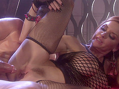 Janet Mason wears her favorite fishnets and gets stuffed with dick