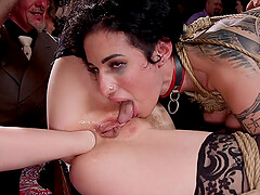 Arabelle Raphael and her slutty friends tied up and pounded at an orgy