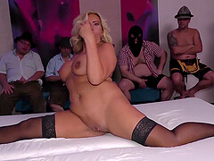 big boob chubby real flexible milf enjoys her first german bukakke