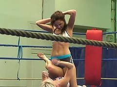 Bea Stiel and Kissy are having some fun while fighting on a ring