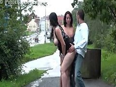 Risky Public Threesome Sex with a Pregnant Girl and Her Friend