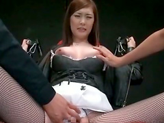Leg spread asian bitch gets hairy quim fingered