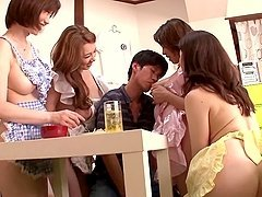 Four sexy Japanese girls give pleasure to lucky guy
