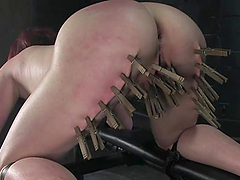 Chubby pinky babe Kylie Ireland lets Mark tie her up and play with her cunt