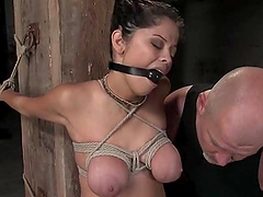 Sexy brunette gets a huge cock in her twat and mouth