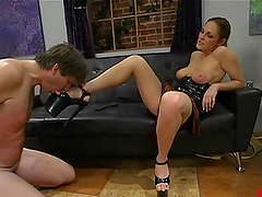 Rider gets humiliated and fucked by mistress Venus in BDSM scene