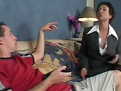 Busty brunette mom blows and gets fucked hard doggy style