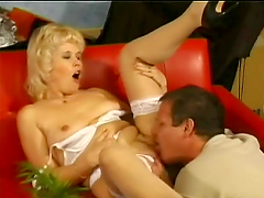 Blonde Kate blows and gets banged doggy style and in cowgirl position