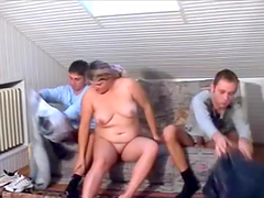 Mature blonde Fiona gives sex lessons to two young men