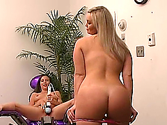 Curvy blonde and a slim brunette enjoy playing with fucking machines