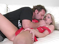 Naughty MILF Aimee Addison gets fucked nicely on a sofa