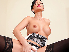 Short-haired milf Gabrielle Gucci gives a perfect blowjob indoors