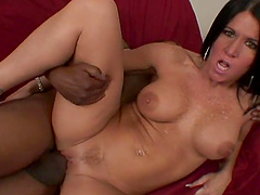 Adorable brunette with big tits getting smashed hardcore with big black cock