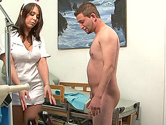 Slutty nurse gives handjob and foot job in hospital