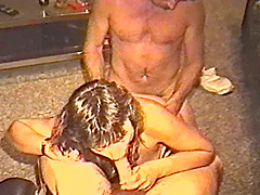 Vintage wife sharing scene with two guys banging his lady