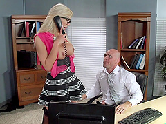Pretty Blonde With Big Tits Enjoying A Hardcore Fuck In Her Employer's Office