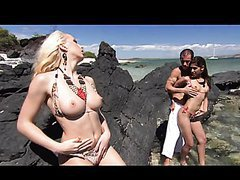 Outdoors Threesome On The Rocks With Diana Gold and Sahara Knite