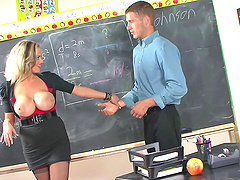 Slutty skirt and seamed stockings make Katie Kox irresistible