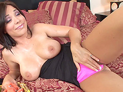 Hot blowjob scene with naughty porn hottie Beverly Hills in action