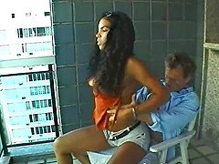 Tattooed Brazilian chick with a hot body enjoying a hardcore cowgirl style fuck