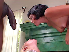 Teoni and Drew Hurlie sharing a BBC and swap cum in interracial FFM