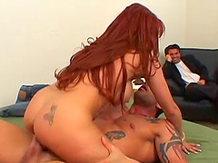Hubby look on as her Redhead wife with big tits gets pinned Hardcore