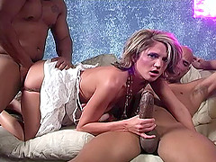 Sizzling Blonde Babe With Big Tits Enjoying A Hardcore Interracial Threesome